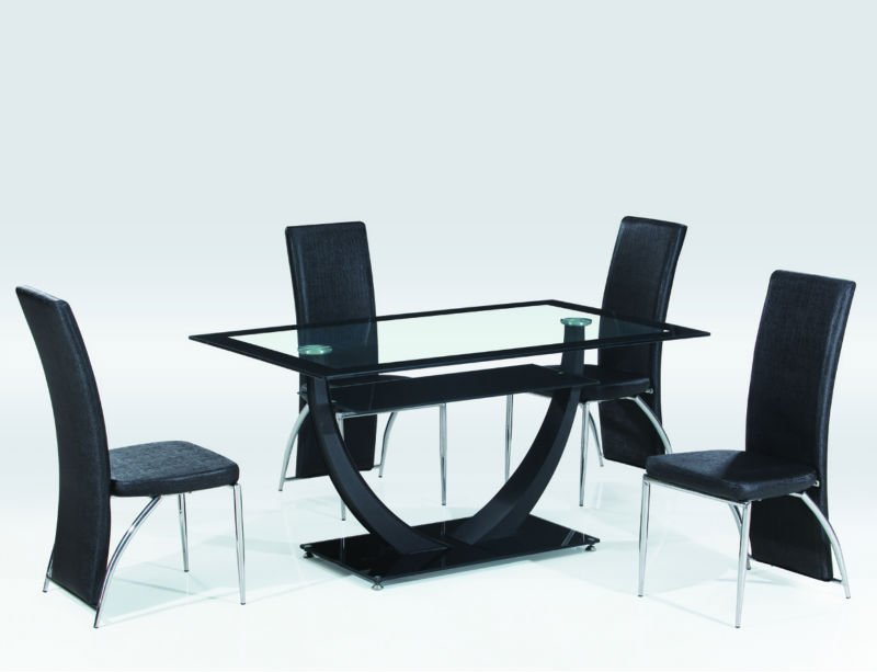 Indoor furniture black painting glass dinning table 4-6 seater glass dining tables