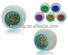 Color changing projection alarm clock with calendar