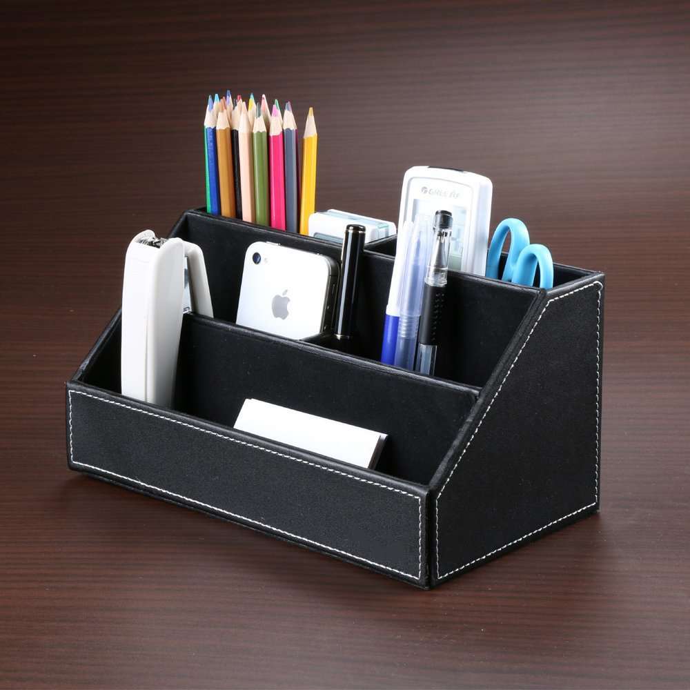 Luxury Home Office Leather Multifunction Desk Stationery Organizer Storage Box