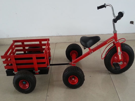 pedal go kart with 3 wheels Children trike with wooden trailer kid tricycle with trailerF80AB