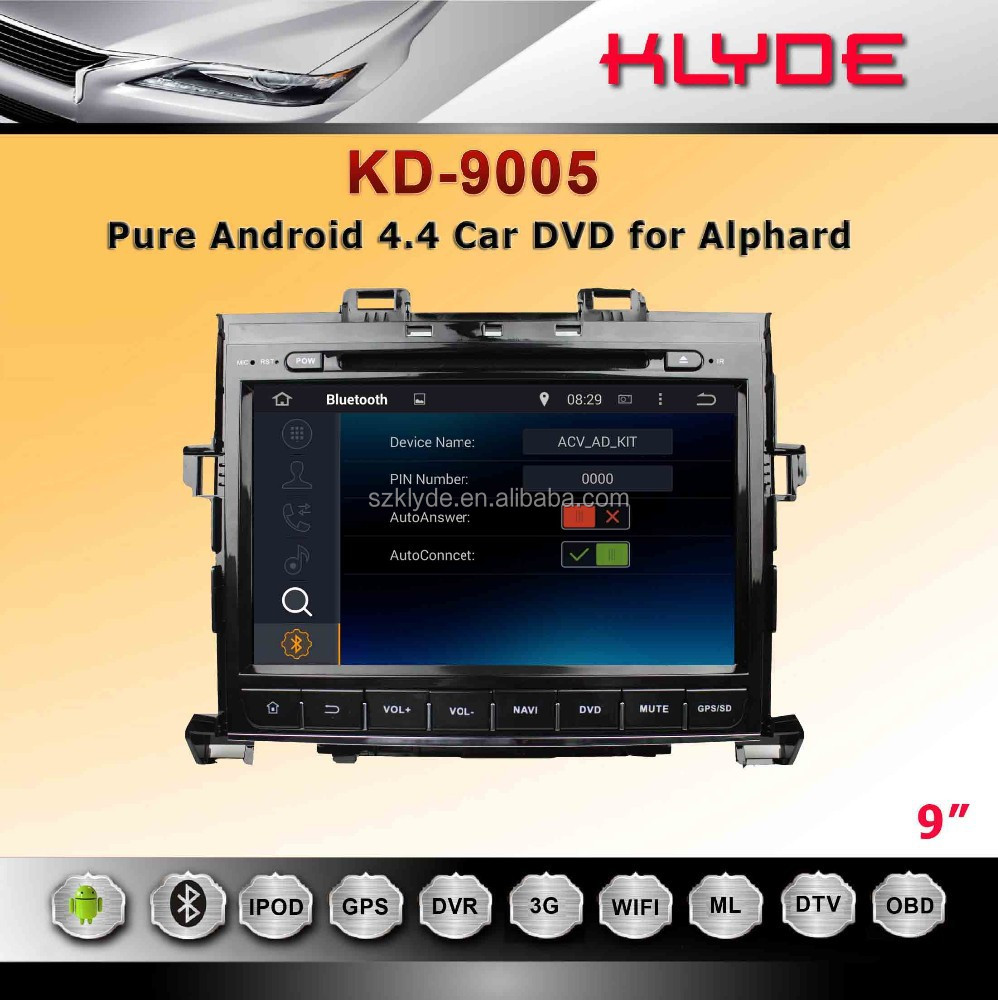 android 4.4.2 Radio Tuner 2 Din 9 Inch Car Dvd Player For Alphard