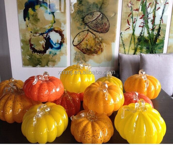 Moden decor hand blown craft wholesale artificial glass ornaments pumpkins