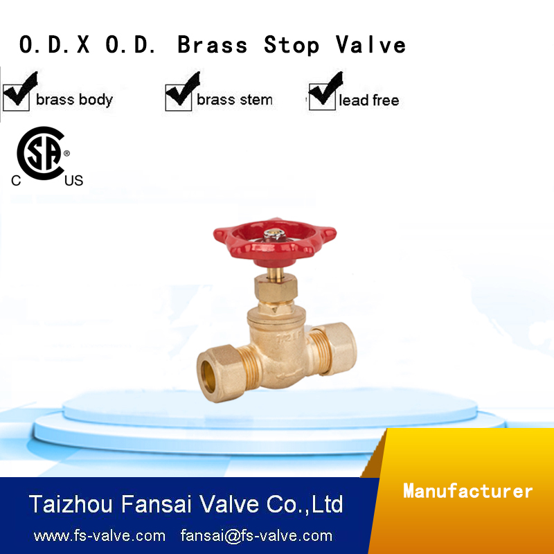 "High quality cSA cUPC red multi-turn handwheel OD.comp. * OD.comp. 1/2"" 3/4"" forged brass stop valve"