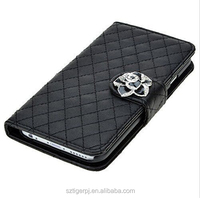 Black Luxury Grid Wallet Stand Flip PU Leather Cover Case for iphone 6 Plus