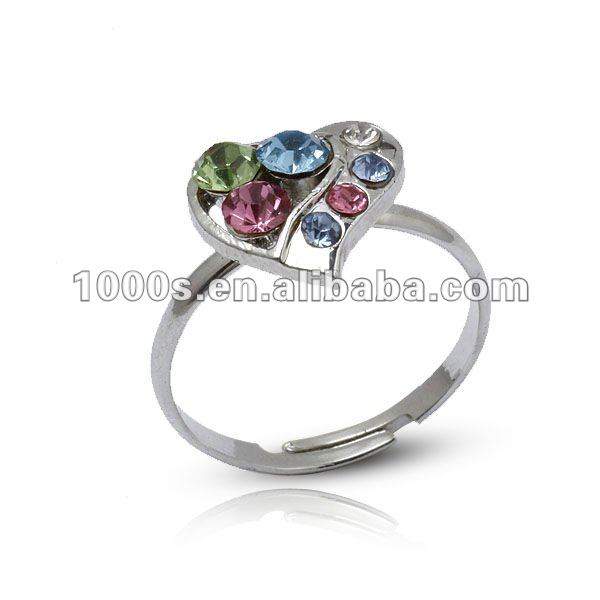 Fashion Sterling Silver Adjustable Rings with Crystals