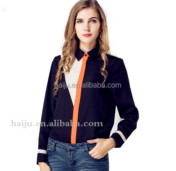 New design breathable long sleeve blouse pattern lady