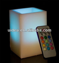 Color Changing Square Shape Flickering Rmote Control Timer LED Flameless Wax Candle Light