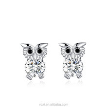 New Delicate White Gold Plated Owl Shaped Earrings Shiny Czech Stone Filled Ear Studs