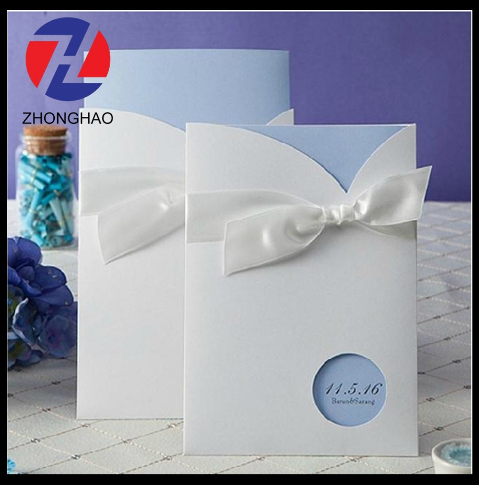 New Arrived elegant white card with envelope craft wedding invitation card