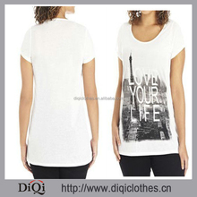 True Paris skyline print tee shirt /top/women apparel with top low wholesale price