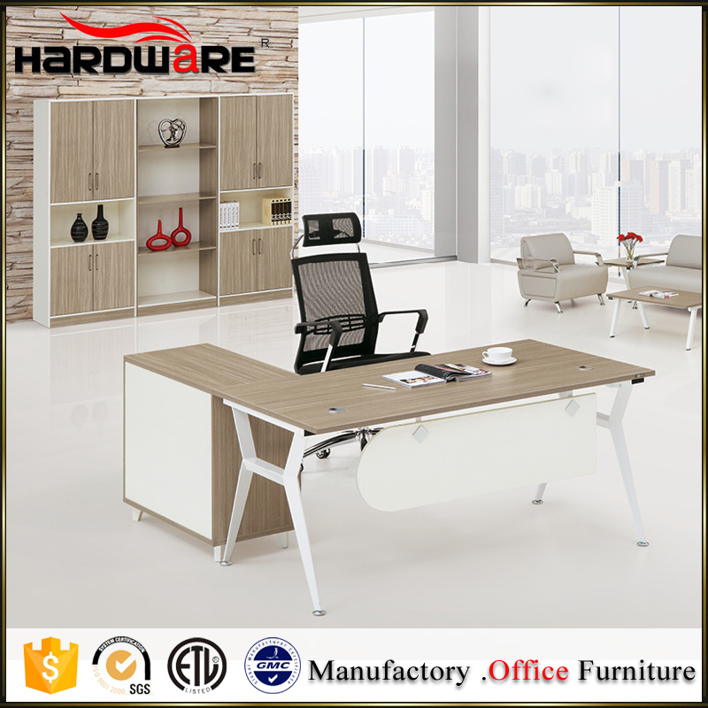 Luxury L-shaped melamine home office study table furniture