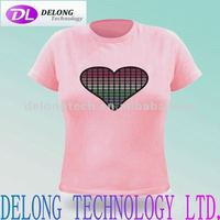 sound flashing el t-shirt with 100% cotton t-shirt