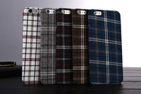 Trendy England Grid Fabrics Hard Case For iPhone 6 6S Plus 5.5 inch Fashion Grid Pattern Cloth Phone Back Cover Case 5 Colors