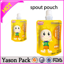 Yason transparent stand-up bottom gusset spout bag zipper transparent plastic spout pouches with handle round bottom transparent