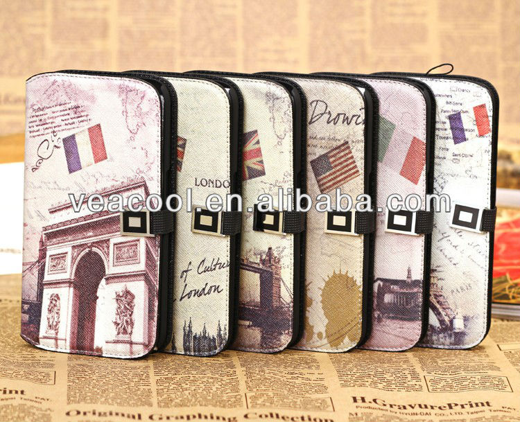 Retro Old Paris LA Tour Eiffel Tower Flip PU Leather Wallet Case With Stand for Samsung Galaxy Mega 6.3 I9200