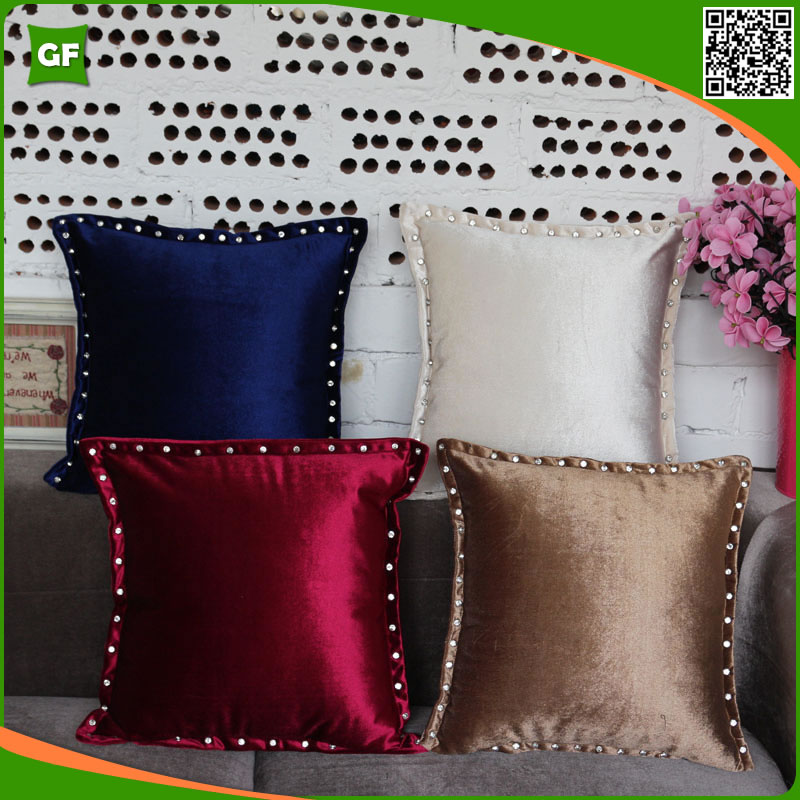 High-grade European Pillowcases Fashion Diamond Nail Suede Fabric Solid Home Decorative Cushion Cover Soft Comfortable