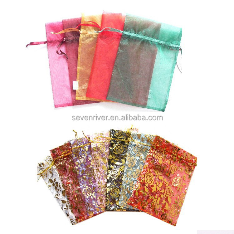 Wholesale China Cheap Custom Plain Printed Drawstring Gift Organza Bag