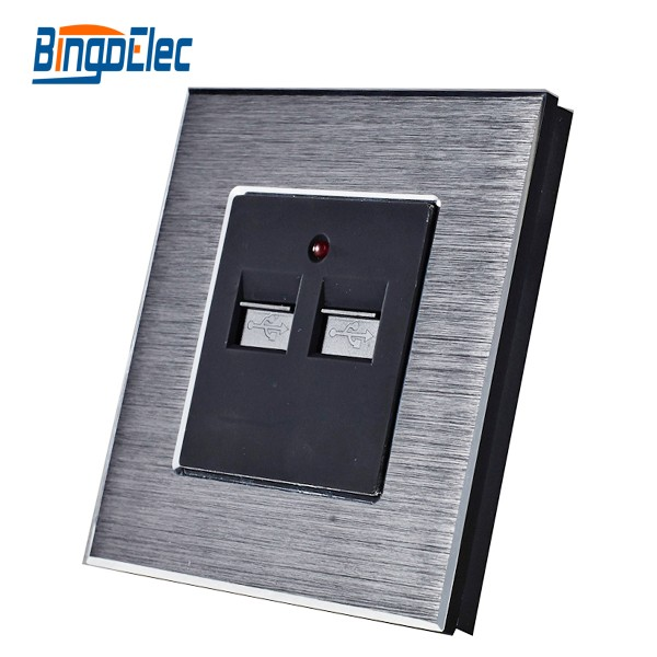 EU europe standard luxury aluminum metal USB wall socket