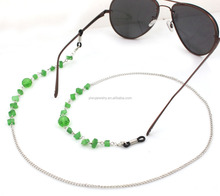 GL170 green jade stone round disc crystal sunglasses accessories handmade beaded eyeglasses cords