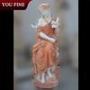 Elegant Detailed Carved Marble Sitting Woman Statue with Bird