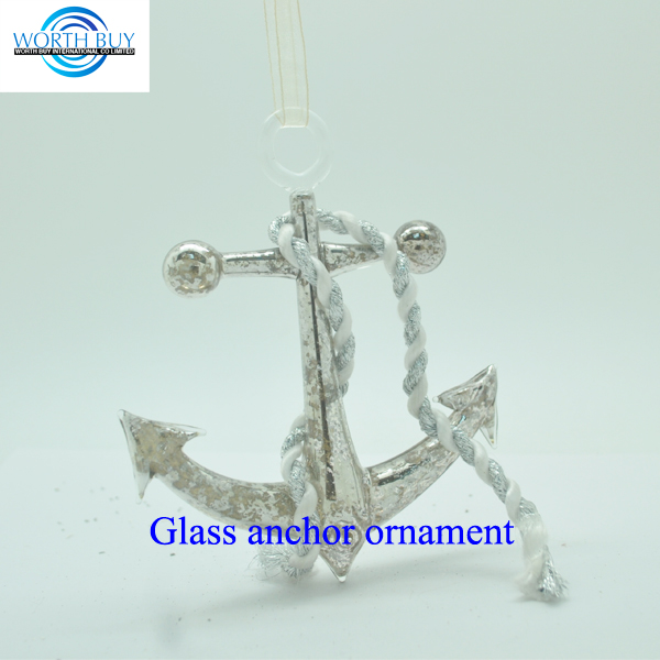 Marine series hanging glass anchor ornament unique items sell , Christmas decoration