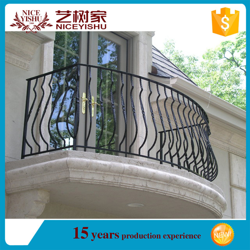 Italian style exterior new design modern curved wrought iron balcony railing luxury ornamental for Curved metal railings exterior