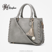 B-1087 Stock LOW MOQ Custom Fashion PU Leather Women Tote Purse Top Handle Bag Young Lady Handbags