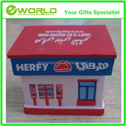 Promotional house customized logo PU toy model houses