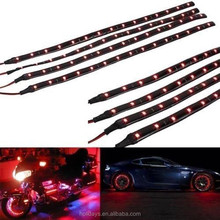 New 4pcs/set Red 30cm Waterproof Flexible LED Strip Light 12v for Car and Motor