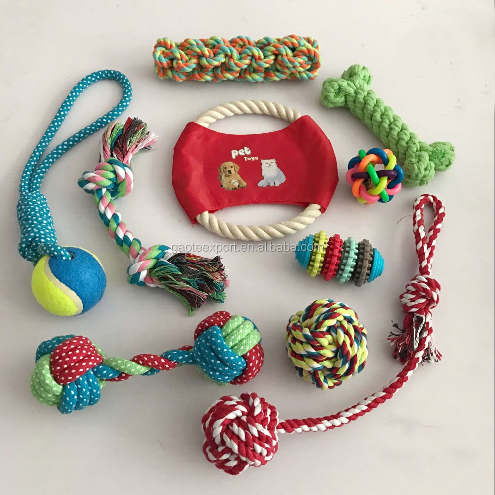 Dog Rope Toys 10 Pack Set, Puppy Teething Chew Rope/ Tug Assortment/ Rope Ball