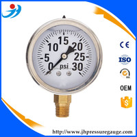 "2-1/2"" Oil Filled Pressure Gauge - Stainless Steel Case, Brass, 1/4"" NPT, Lower Mount Connection 0-30PSI"