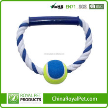 Circle rope weaving cotton teeth cleaning pet dog toys with tennis ball