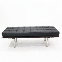 Replica Mies van der Rohe 180cm black leather Barcelona Long Bench