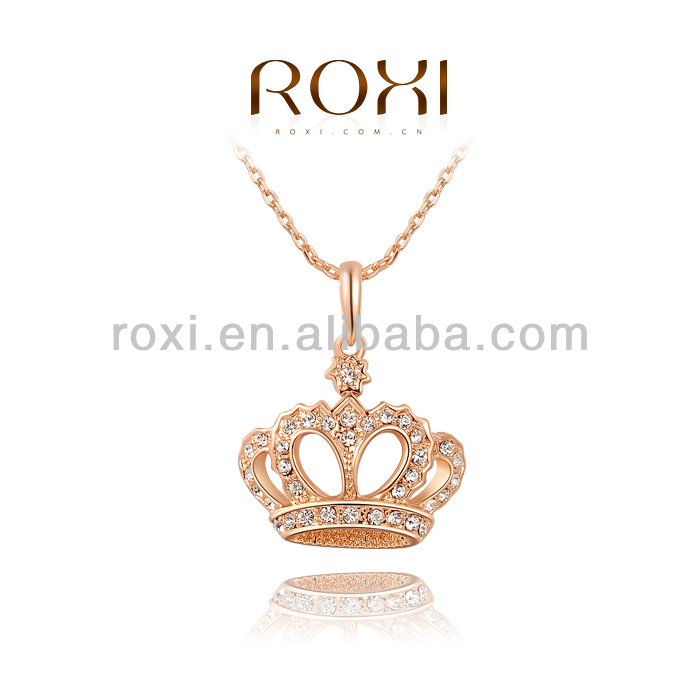 ROXI Rose Gold Plated Austrian Crystal Crown Pendant Necklace <strong>Jewelry</strong>