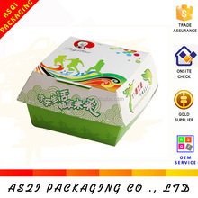 custom wholesale food grade cardboard box for hamburger