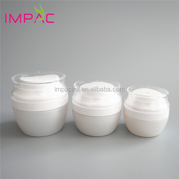 High-end matte white acrylic cosmetic 30ml airless jar with pump