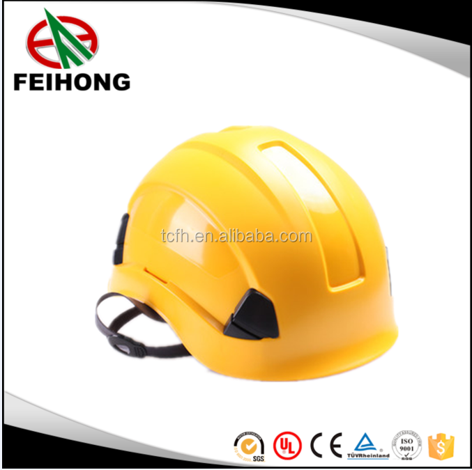 Working aloft and outdoor climbing yellow safety helmet skilling hard hat with safety goggle and light