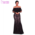 Black Lace Overlay Nude Off The Shoulder Women Maxi Dress L51422