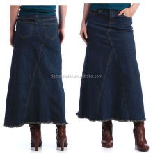 2014 new fashion ladies long denim skirts long jeans skirts