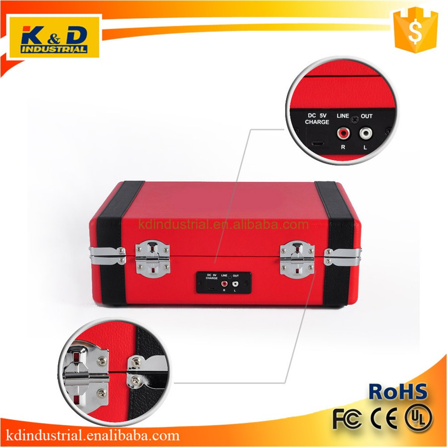 Hottest Sales Red DJ Turntable Record Player with Bluetooths 3 speed