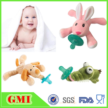 New funny infant soft plush toys animal baby pacifier teether toys