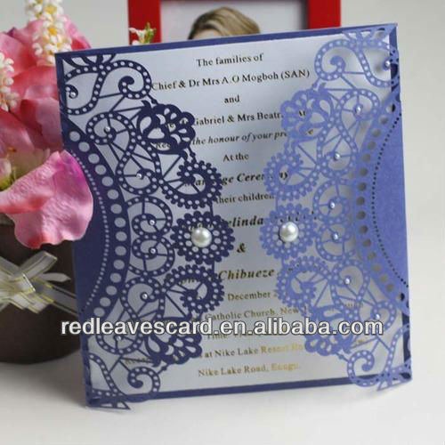 Top Sell On Line Shopping Simple Wedding Invitation Card With Pearl Brooch