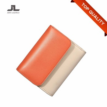 Direct Supplier Cheap Waterproof Genuine Leather Woman Small Cascade Wallet