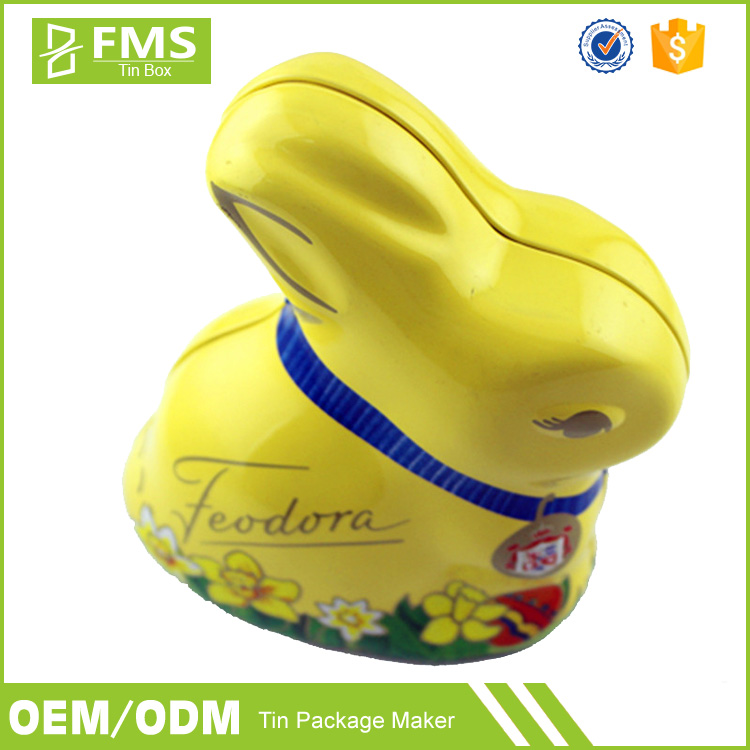 Custom Animal Shape Metal Tin Rabbit Box For Candy Chocolate Packaging