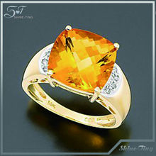 Victoria Townsend Golden plated Ring, Citrine (1-1/4 ct. t.w.) and Diamond (1/10 ct. t.w.) Square