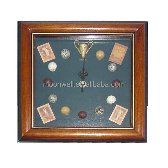 Wooden wall clock,with golf balls,Window box,shadow box,Decorative Frame,Gifts,Souvenir,Handicrafts,Wall decoration