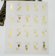 Gold Cat Hot Designs Water Transfer Nail Art Stickers Decals Wraps Watermark Tattoos Beauty Shinning Decorations Tools