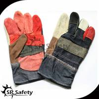 "SRSAFETY 10.5"" patched palm cow split leather buyer weilding gloves"