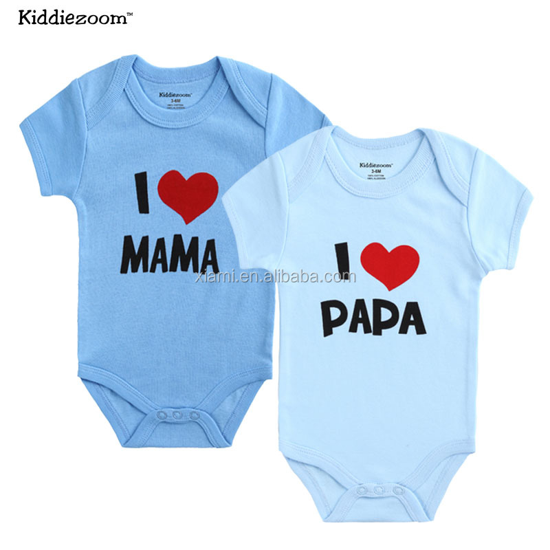 2016 100% cotton costom letter papa mama cute baby boy clothes