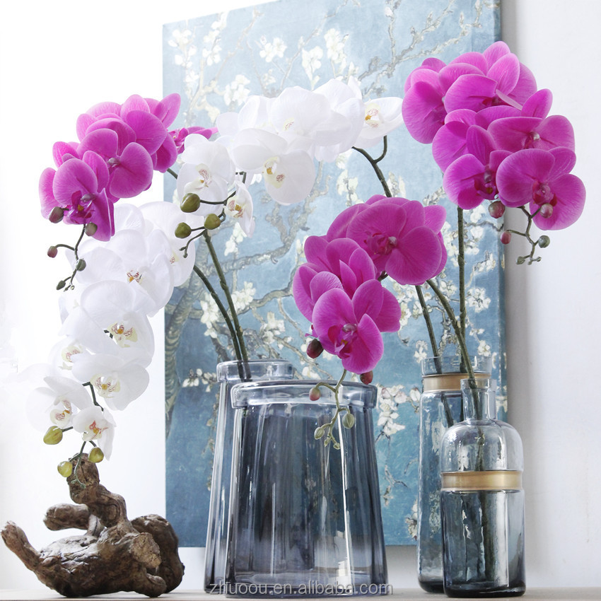 Wedding Centerpiece Real Touch Artificial Plastic Orchids Purple Blue Orchids Artificial Latex Flowers Orchids